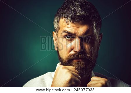 Portrait Boxer Before Fight, Closeup. Bearded Man Do Karate Training. Strong Angry Bearded Man Dress
