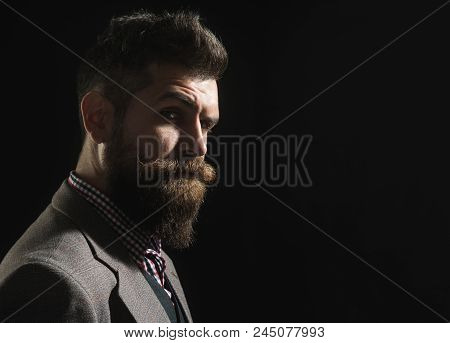 Advertising Barbershop Concept. Silhouette Of Serious Bearded Man In Vintage Style. Hipster Profile