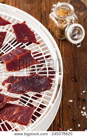 Homemade Beef Jerky With A Dehydrator. Selective Focus.