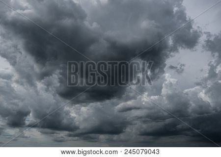 Dark Storm Clouds Before Rain Used For Climate Background. Clouds Become Dark Gray Before Raining. D