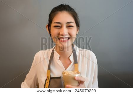 Barista Smiling Young Asian Woman Drink Coffee Making A Mess  Milk Foam On Her Mouth.clumsy Dirty Gi