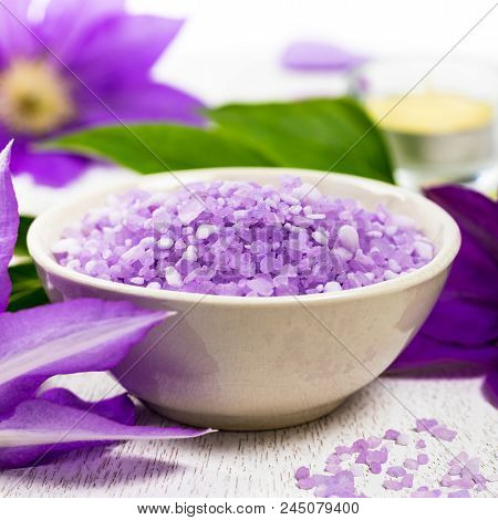 Clematis Salt For Spa And Aromatherapy. Selective Focus.