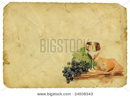 Holy Communion Elements On Old Paper