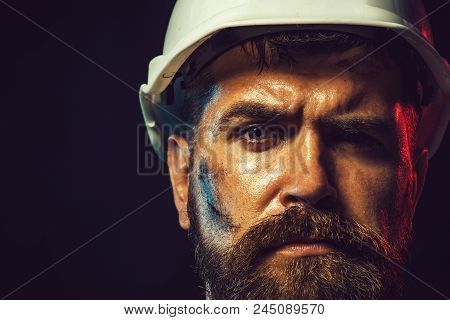 Construction Worker In Hard Hat. Portrait Of Mechanical Worker. Close Up Engineers Working. Builder