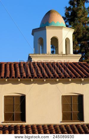 Historic Church With Spanish Architectural Exterior Design Including A Dome And Spanish Tile Taken I