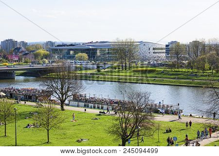 Krakow, Poland - April 14, 2018: Boulevards On The River Wisla Near Wawel Castle, Recreational Area