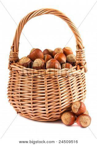 Wicker Basket With Hazelnuts