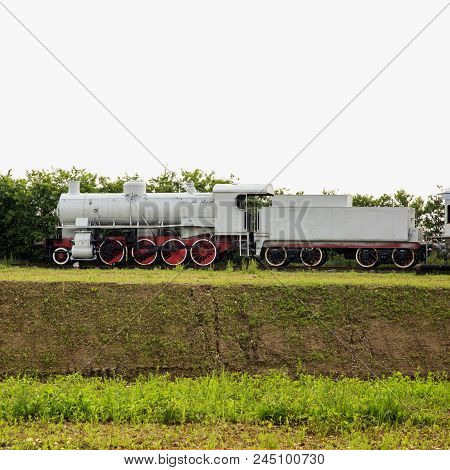 Locomotive Of Steam Train, Still In The Country, Square Image