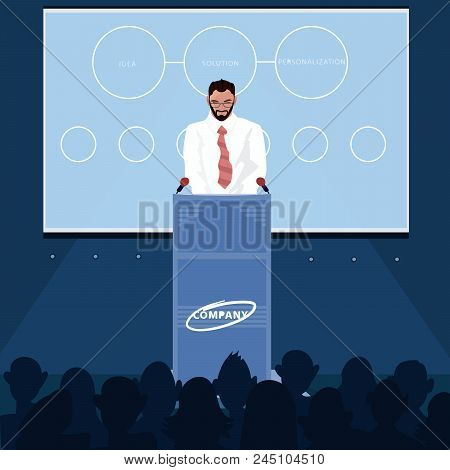 Business Man Standing Behind Pulpit And Reading News For Audience. Presentation Of Product Or Announ
