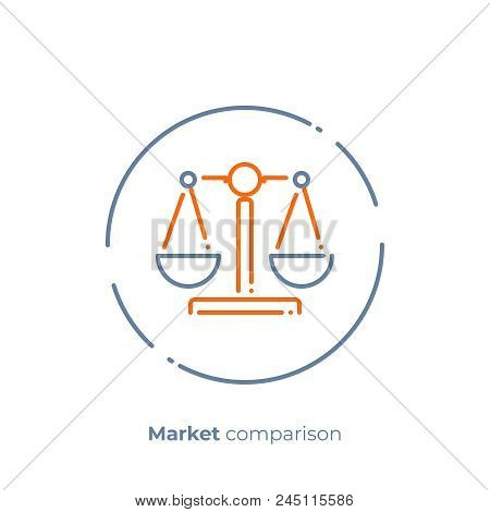 Business Comparison Line Art Icon, Digital Investment Scales Vector Art, Outline Financial Balance I