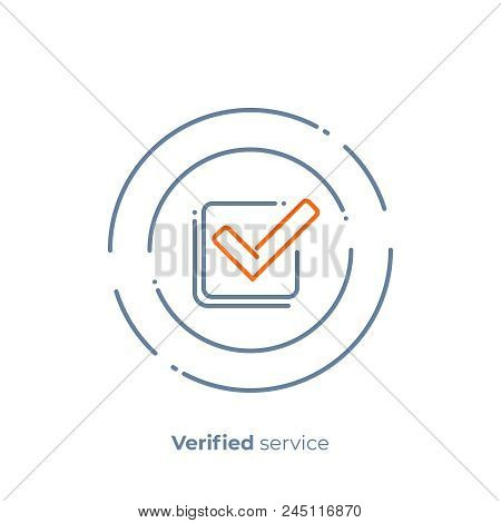 Successfull Investment Line Art Icon, Verified Finance Organisation Vector Art, Outline Digital Chec
