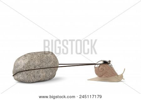 Creative Snail Pulling Stone Isolated On White Background 3d Illustration.