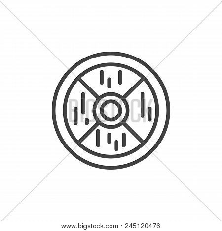 Wooden Shield Outline Icon. Linear Style Sign For Mobile Concept And Web Design. Medieval Shield Sim