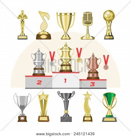Award Trophy Vector Winners Prize Trophycup Or Medal For Award-winning Champion With Reward For Vict