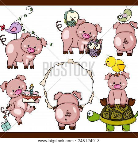 Scalable Vectorial Representing A Cute Pig Set Digital Elements,illustration With Elements For Your