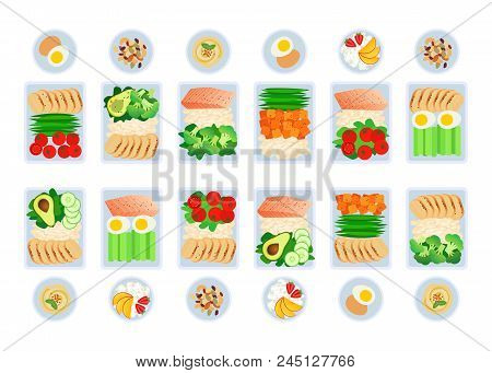 Vector Illustration Of Meal Preparation. Portion Of Food In Container, Snacks And Fruits. Healthy Li