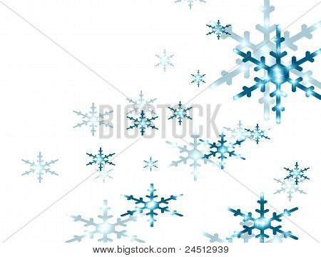 Snow and blue stars on white background