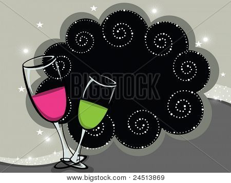 artistic background with set of wine glass