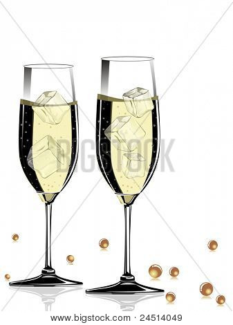 champange glass on white background