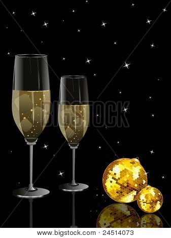 abstract black twinkle star background with set of champagne glass, disco ball
