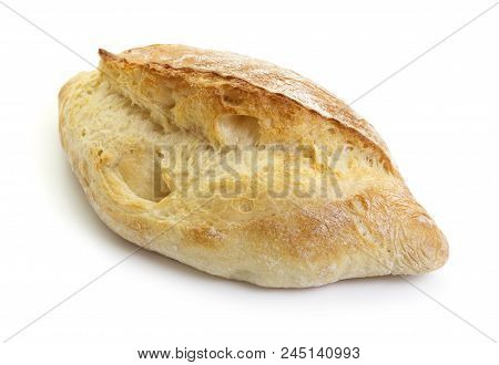 Close-up View Of Fresh Ciabatta Loaf Isolated On White Background