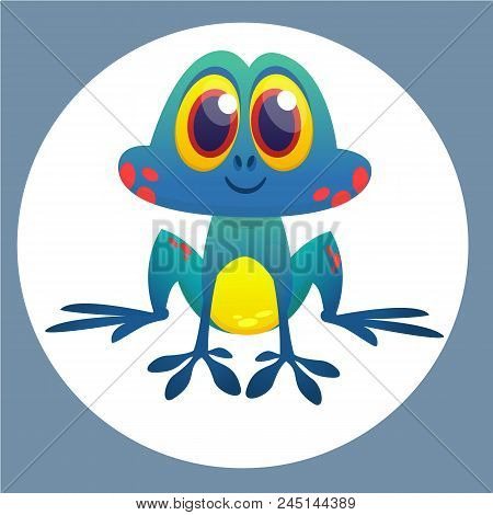 Cute Frog Cartoon Character. Vector Illustration Isolated. Frog Icon Design For Sticker, Print Decor