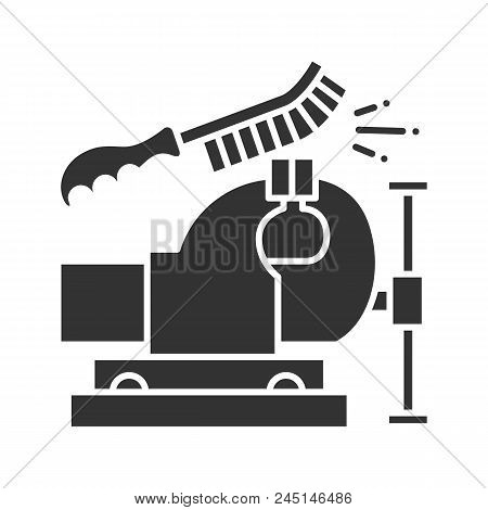 Bench vice cleaning with wire brush glyph icon. Leg vice. Silhouette symbol. Negative space. Vector isolated illustration poster