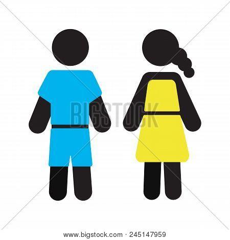 Pair Of Children Silhouette Icon. Grade Schoolers Or Preschoolers. Kindergarten Or School. Isolated
