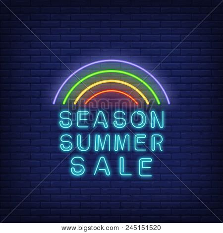 Season Summer Sale Neon Signboard Design. Vector Illustration With Glowing Blue Text And Rainbow On