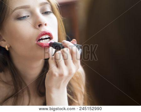 Woman Painted Pink Lips. Beauty Lips Make-up. Perfect Skin, Full Lips. Retro Make Up. Professional M