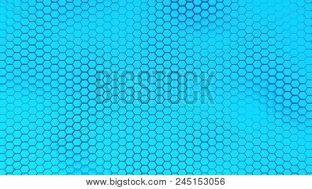 Beautiful Blue Hexagrid Background With Soft Sea Waves