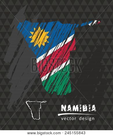 Namibia National Vector Map With Sketch Chalk Flag. Sketch Chalk Hand Drawn Illustration