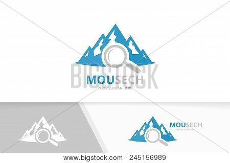 Vector Mountain And Loupe Logo Combination. Nature And Magnifying Symbol Or Icon. Unique Hill And Se