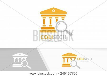 Vector Bank And Loupe Logo Combination. Column And Magnifying Symbol Or Icon. Unique Judge And Searc