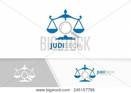 Vector Libra And Loupe Logo Combination. Scales And Magnifying Symbol Or Icon. Unique Law And Search