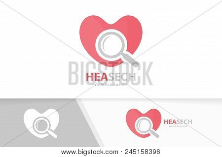 Vector Heart And Loupe Logo Combination. Love And Magnifying Symbol Or Icon. Unique Romantic And Sea