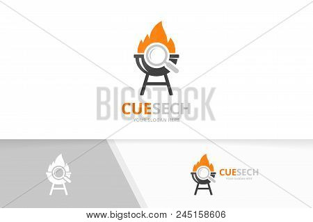 Vector Bbq And Loupe Logo Combination. Grill And Magnifying Symbol Or Icon. Unique Barbecue And Sear