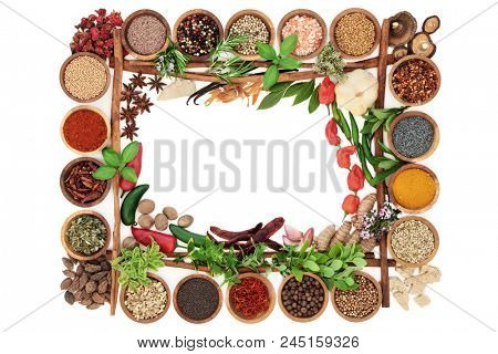 Spice and herb border with fresh and dried herbs and spices and cinnamon sticks forming a frame on white background. Top view.