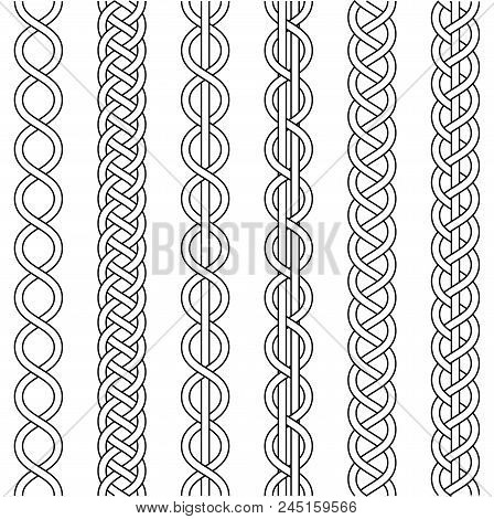 Rope Cable Weaving, Knot Twisted Braid, Macrame Crochet Weaving, Braid Knot, Vector Knitted Braided
