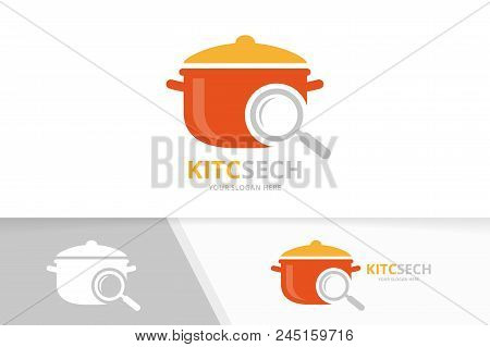 Vector Pot And Loupe Logo Combination. Kitchen And Magnifying Symbol Or Icon. Unique Pan And Search