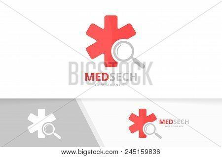 Vector Ambulance And Loupe Logo Combination. Medic And Magnifying Symbol Or Icon. Unique Emergency A