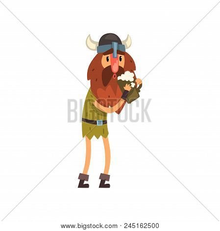 Viking Cartoon Character Holding Tankard Of Ale Vector Illustration Isolated On A White Background.