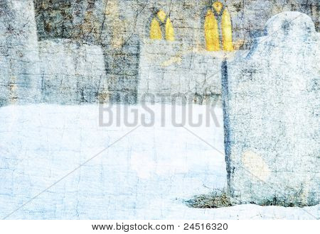 Gravestones in snowy church cemetery with copy space