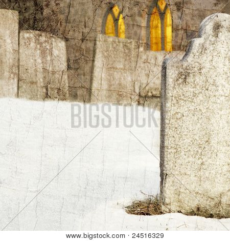 Creepy grunge graveyard and church with copy space