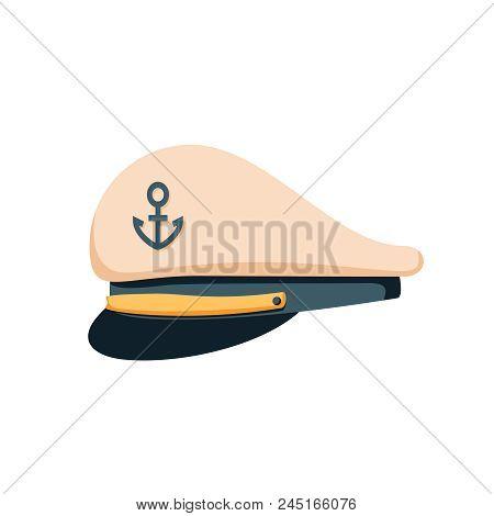 Captain Sailor Hat Icon, Flat Design Vector. Navy Cap, Ship Officer Or Admiral. Sailor, Naval Captai