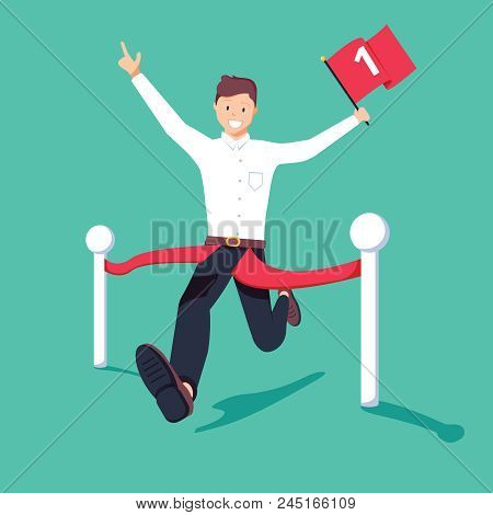Businessman Holding Number One Flag Running And Crossing Finish Line In First Place. Business Succes