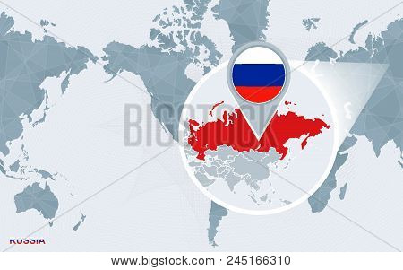 World Map Centered On America With Magnified Russia. Blue Flag And Map Of Russia. Abstract Vector Il