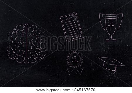 Genius Mind Conceptual Illustration: Brain Next To Group Of Education Accomplishment Icons From Degr