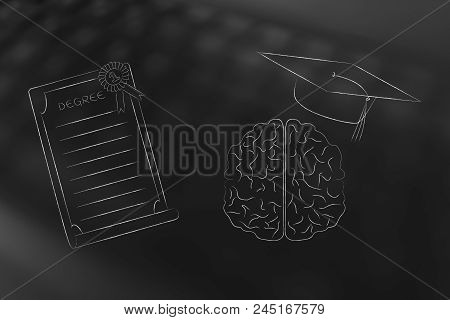 Genius Mind Conceptual Illustration: Brain With Graduation Cap Next To Degree