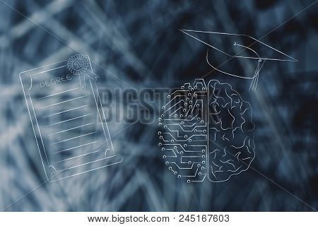 Genius Mind Conceptual Illustration: Half Digital Half Human Brain With Graduation Cap Next To Degre